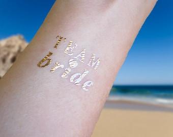 Gold Bachelorette Tattoo, TEAM BRIDE Bachelorette Party Temporary Tattoos, Team Bride Tattoo