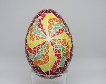 Non-Traditional Ukrainian Pysanky Style Decorated Goose Egg
