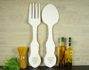 Large Fork And Spoon Wall Decor Kitchen Decor Wooden Wall Art Farmhouse Decor Dining Room Restaurant Decor Rustic Wall Decor Wall Hanging