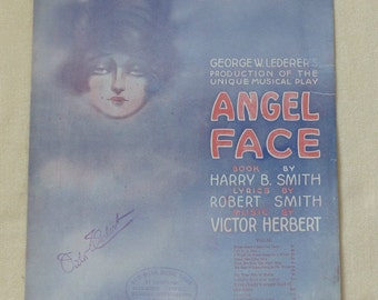 Angel Face (I Might Be Your Once In-a-while) Vintage sheet music dated 1919 Music Signed by Victor Herbert Collectible sheet music Cover art