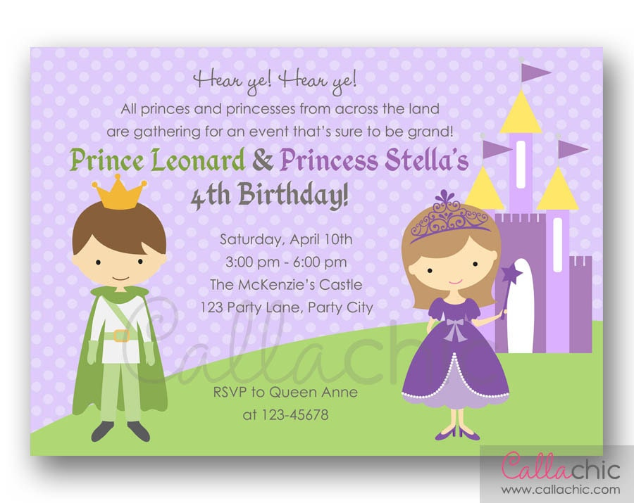 Purple Princess and Prince Birthday Invitation PRINTABLE