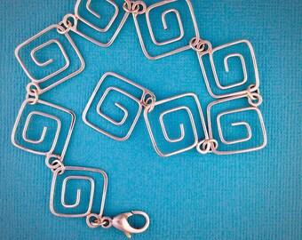 Square Spiral Sterling Silver Bracelet