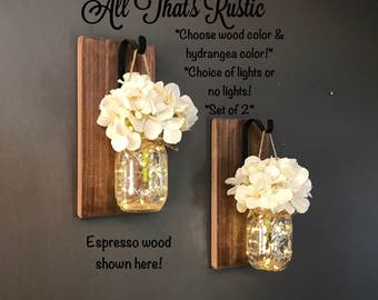Rustic Home Decor, Home U0026 Living, Set Of 2 Hanging Mason Jar Sconces With