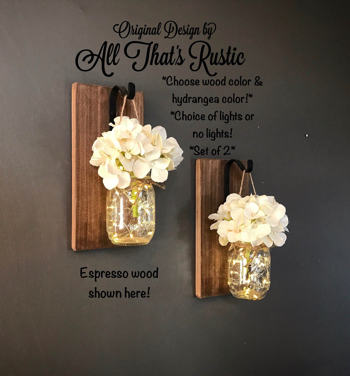 What To Put In Mason Jars For Decoration: Rustic Home Decor Home & Living Set Of 2 Hanging Mason Jar