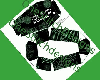 Black and Green Coffin Printable Halloween Favor Box Spiderwebs RIP Goth Decoration DIY Halloween