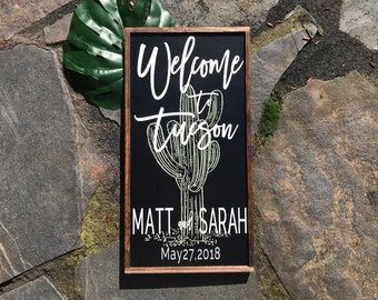 Wedding sign, welcome wedding sign, welcome sign, custom wedding sign, wedding decor, wedding, cactus, rustic sign, last name sign