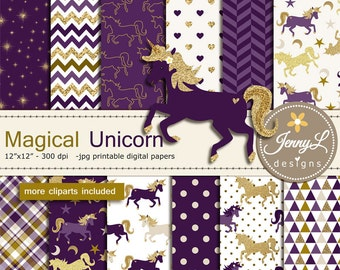 Unicorn Digital Papers and Clipart SET, Gold Purple Unicorn Pegasus, Pony, for Digital Scrapbooking, Birthday Party, Invitations, Planner