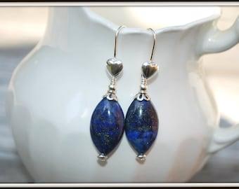 Lapis Earrings, Lapis Heart Earrings, Blue Lapis Earrings, Oval Bead Earrings, Oval Lapis Earrings, Lapis Dangles
