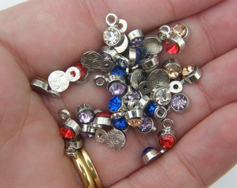 50 Rhinestone charms silver tone I181