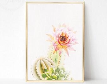Printable Cactus Poster, Watercolor Cactus Print, Succulent Print, Large Cactus Print, Cactus Wall Print, Cactus Decor, Printable Cactus Art