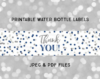 Printable Water Bottle Labels Thank You Dark Blue Silver Glitter Confetti Instant Digital Download