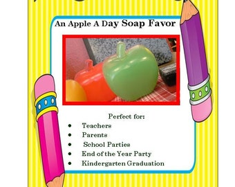 10 APPLE SOAPS, 10 Favors - Teacher Appreciation Gift, Class Soap Favor, End of the Year Party Gift, Kindergarten Graduation