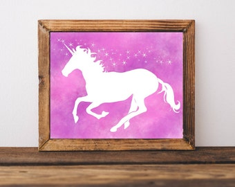 Printable Art, Magical Pink Unicorn, Unicorn Art, Downloadable Wall art, Home Decor, Childrens Decor, Nursery Decor Kids Decor Wall Art