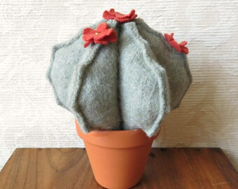 Plush Blooming Barrel Cactus in Sage Green Wool, Eco Friendly Home Decor, Stuffed Cactus Pincushion