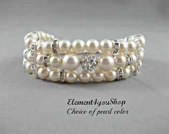 Bridal bracelet, Wedding jewelry, Bridal cuff bracelet, Silver rhinestone ball, Swarovski ivory pearls, Three 3 strands cuff bracelet