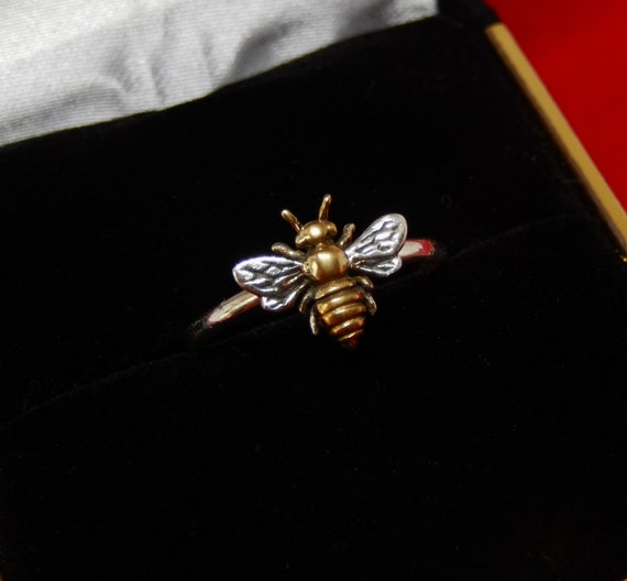 Honey Bee Ring/ 24kt Gold Plated/ 925 Sterling Silver/ Dainty Bee Ring/ Artisan created/ Multi Sizes/ Dainty Bee Ring