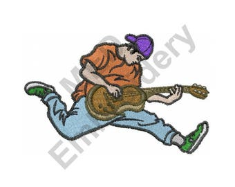 Rock Out - Machine Embroidery Design, Guitar, Rock and Roll