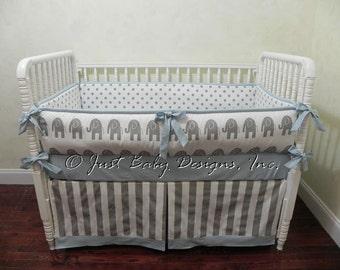 Elephant Baby Bedding Set Perry - Boy Baby Bedding,  Elephant Crib Bedding, Gray Baby Bedding, Blue Crib Bedding