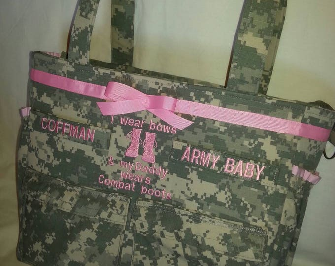 Baby diaper bag bythebayoriginals unique baby diaper bag personalized gift handmade custom embroidery army wife army mom camo military bag negle Images