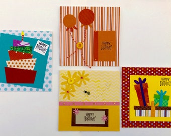 Handcrafted Birthday Cards - set of four