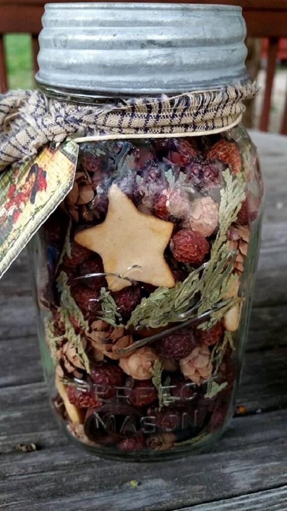 Primitive Rose hip Potpourri in rustic mason quart jar