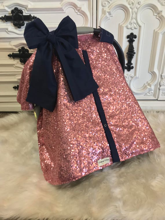 Pink and Navy sparkle car seat canopy / carseat cover / carseat canopy / ooak / sequin / infant car seat cover / silver / sparkle