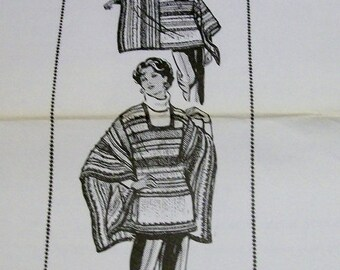 Vintage Knitted Poncho PDF pattern Design number 7245