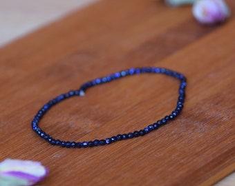 Blaufluss-Goldstone Blue-bracelet-healing stone jewelry-copper and glass-forehead chakra-sunstone-sacral chakra-positivity