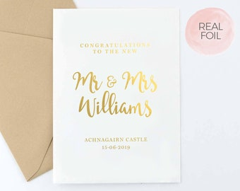 Personalised Wedding Card | Congratulations | Congrats To The New | Mr and Mrs, Mr and Mr & Mrs and Mrs | Real Gold Foil | FREE Delivery