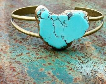 TURQUOISE SLAB Bracelet - Solid Brass