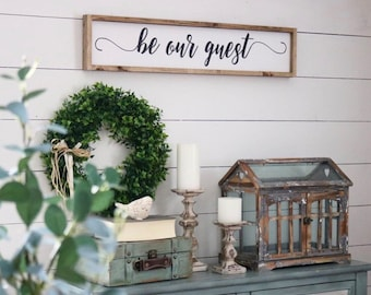 Be Our Guest Wood Sign | Framed Sign | Guest Room Decor | Bedroom Decor | Framed Be Our Guest Sign | Customized Color | Customized Size