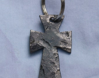 Hand forged cross keychain