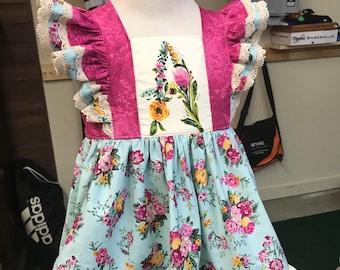 Floral Dress - 3mo-10 - Mint - Ruffles - Monogram -