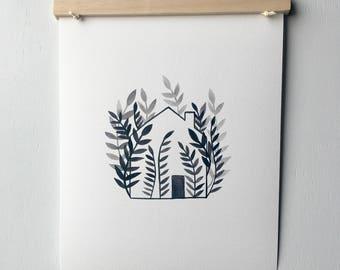 8x10 Art Print - Botanical Art Print - House Art - Fern House - Modern Wall Art - Botanical Illustration - Housewarming Gift - Gallery Wall
