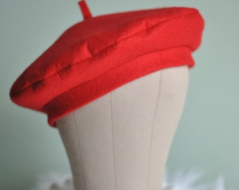 Red Wool Felt French Beret-Tam