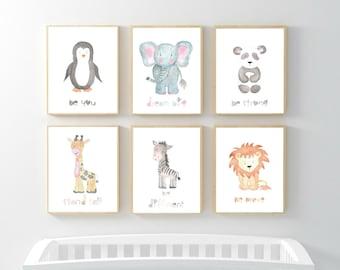 Safari Nursery Decor, Nursery Wall Art, Baby Animal Prints, Jungle Animals, Kids Wall Decor, Kids Room Elephant Giraffe Zebra Lion Set of 6