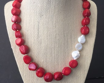 Red coral necklace Wife statement gift from husband Mother of the groom gift from bride to mother in law gift Red bold chunky pearl necklace
