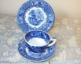George Jones and Sons Abbey Ware Vintage Blue Transferware Trio Cup Saucer and Plate