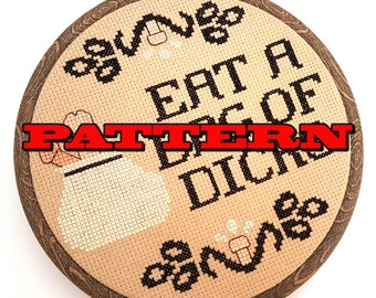 PDF Cross Stitch Pattern Eat a Bag of Dicks -Penis Art-Gag Gift-DIY-Gifts for Guys-Man cave Decor-Genital Art-Body Humor