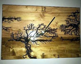 "18"" x 12"" Wood clock, wall clock, wall art clock, wooden clock lichtenberg wood hanging clock his/her holiday gift anniversary wedding gift"