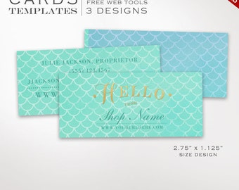 Business Card Template - Mermaid Scales Mini Business Card Template - DIY Printable Half Business Card Template Design Moo Mini BCHL AAB