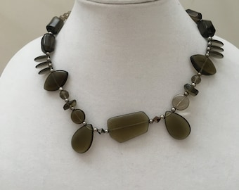 Grey Beaded Necklace, Taupe Grey Beaded Necklace