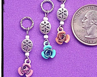Hearing Aid Charms: Victorian Style Roses with silver plated and glass accent beads (also available in a matching Mother Daughter Set)!