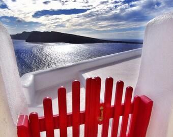 Greece landscape, the sea door photo