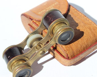 Vintage Opera Glasses Binoculars Leather and Brass Antique Leather Case and Opera Glasses