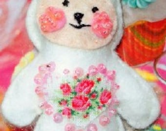 Plush White & Pink  bunny with roses,  Easter bunny, Valentine Bunny, Party Favors,,,