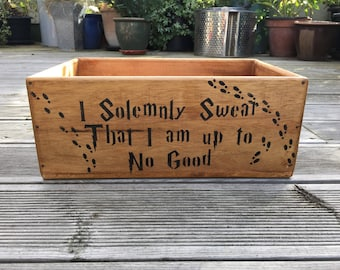Marauder's Map 'I solemnly swear' Harry Potter Vintage Wooden Handcrafted Rustic Oak Storage Box