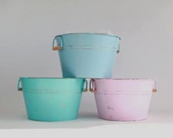 Painted Rustic Galvanized Bucket Photography Prop
