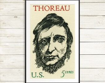 book cover wall art, unique gifts for readers, vintage library decor, Henry David Thoreau poster, famous american writers, large book art
