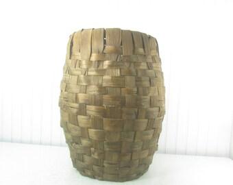 Vintage Palm Frond Basket, fruit basket, farm item, farmhouse kitchen, gathering basket, orchard basket, vegetable basket